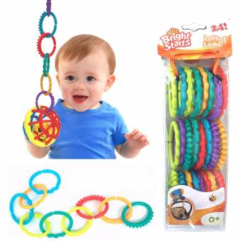 24 Pcs Set Colorful Rainbow Rings Baby Teether Baby StrollerHanging Rattles Toy