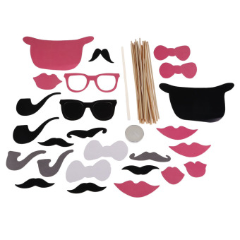 24Pcs DIY Christmas Party Photo Booth Props Mask Pipe Lip Mustache Party (Intl) - picture 2