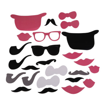 24Pcs DIY Christmas Party Photo Booth Props Mask Pipe Lip Mustache Party (Intl)