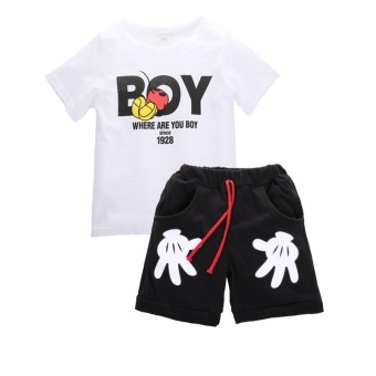 2PCS Kids Boys Tracksuit Outfits Letter Print T-shirt+Palm ShortsSport Clothes Set For 2-7Y Boys - intl