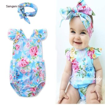 2PCs Newborn Baby Toddler Girl Flower Romper JumpsuitSunsuit+Headband 2017 cool summer style baby romper for 3-24M -intl