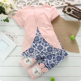 2Pcs Suit Baby Cute Rabbit Top+Short Pants Set Pink (Intl) - picture 2
