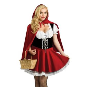 2PCS/Set Dress+Red Cape Adult Little Red Riding Hood Sexy Halloween Costumes for Women(Size S) - intl