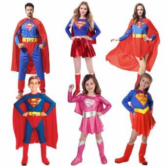 2PCS/Set Superman Costume Christmas Anime Cosplay for MenJumpsuits+Cape Size 165-185 CM - intl - 3