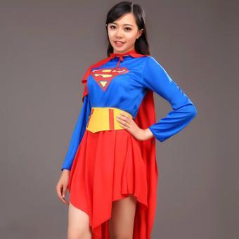 2PCS/Set Superman Costume Christmas Anime Cosplay for MenJumpsuits+Cape Size 165-185 CM - intl - 5