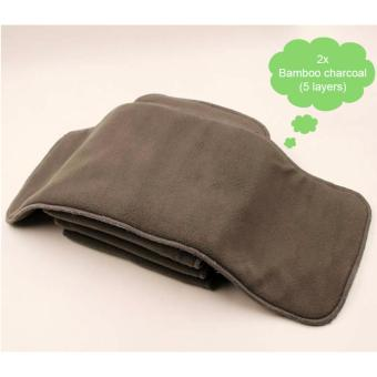 2x Bamboo Charcoal (5 layers) Nappy Cloth Diaper insert