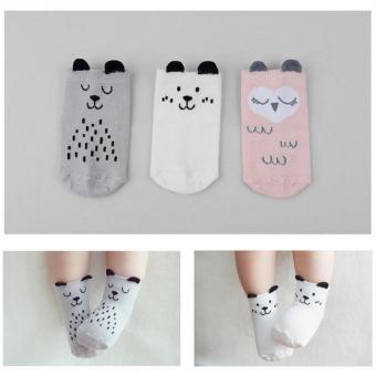 3 Pairs Baby Girls Slip-resistant Cotton Socks For 0-12 Months