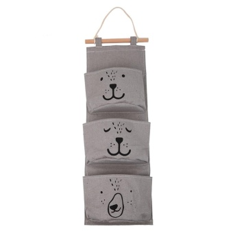 3 Pocket Storage Hanging Bag Holder Wall Mounted Door Pouch BedroomBathroom Organizer (Gray) - intl