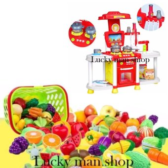 30 in 1 Big size Kids Children Babies Kitchen Cooking Toy Play Set with Light and Sound Educational Learning Toy Red and Plastic Cutting Fruits and Vegetables Set with Dish Play Food Set for Pretend Play