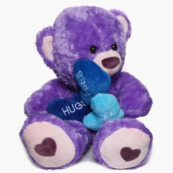36-inch Purple Bear with 3 hearts