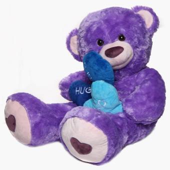 36-inch Purple Bear with 3 hearts - 2