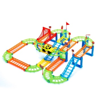 3D Two-layer Spiral Track Roller Coaster 74PCS Toy Electric RailCar for Child Kids Gift - intl - 3