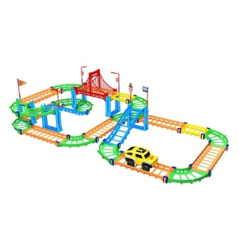 3D Two-layer Spiral Track Roller Coaster 74PCS Toy Electric RailCar for Child Kids Gift - intl - 5