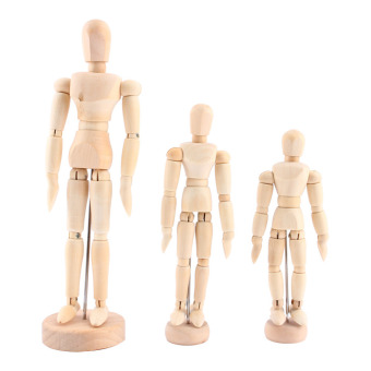 3pcs Artist Movable Limbs Male Wooden Toy Figure Model MannequinArt Sketch Draw Action Toy Figures 5.5 8 12inch - intl - 2