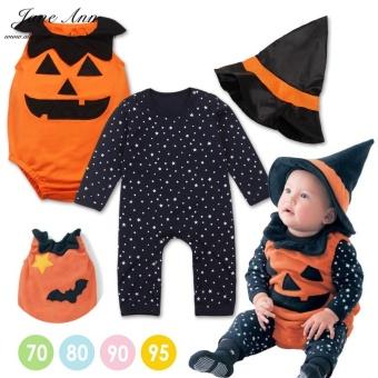 782261ce8 3pcs Halloween Baby Costume Pumpkin Clothing Set Stars Romper+pumpkin Vest  +wizard Hat Infant Sc 1 St Check Price And Goods