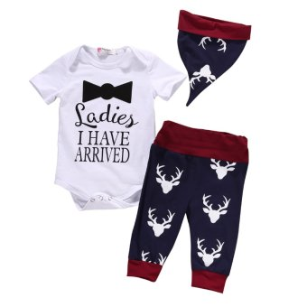 3Pcs Newborn Baby Boy Cute Fashion Clothing Set Short SleeveRomper+Pant+Hat Outfits Set Christmas Deer Clothes - intl