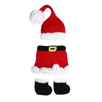 3pcs Newborn Baby Crochet Knit Xmas Santa Costume Photography Props (Red) - intl