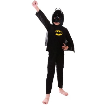 3PCS Top+Pants+Mask Cosplay Batman Halloween Costumes for Kids Boys(Size S Height 90-105CM) - intl