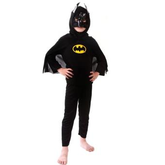 3PCS Top+Pants+Mask Cosplay Batman Halloween Costumes for Kids Boys(Size S Height 90-105CM) - intl - 3
