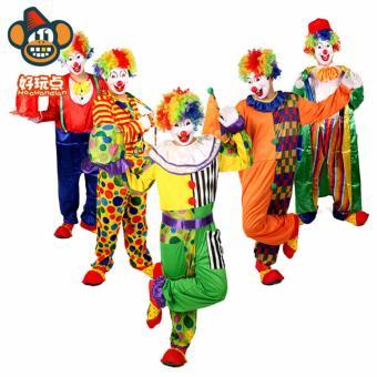 3PCS/Set Clown Cosplay Halloween Costumes for Adult MenJumpsuit+Cap+Bow tie Size 170-180CM - intl - 3