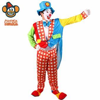 3PCS/Set Clown Cosplay Halloween Costumes for Adult MenJumpsuit+Cap+Bow tie Size 170-180CM - intl - 5