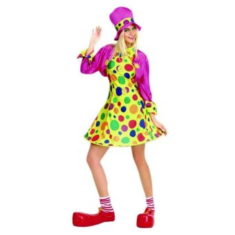 3PCS/Set Clown Cosplay Halloween Costumes for Adult WomenDress+Shawl+Cap Size 155-175CM - intl