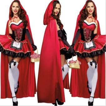 3PCS/Set Cosplay Dress+Cloak+Gloves Little Red Riding Hood Adult Halloween Costume for Women (M Size) - intl - 5