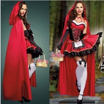 3PCS/Set Cosplay Dress+Cloak+Gloves Little Red Riding Hood Adult Halloween Costume for Women (M Size) - intl - 2