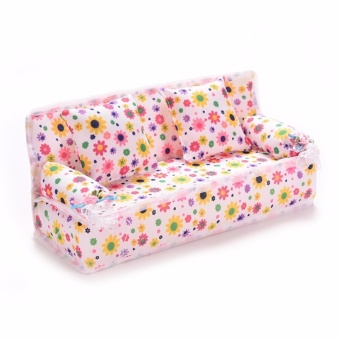 3Pcs/set Mini Dollhouse Furniture Flower Printing Cloth Sofa Couch&2 Cushions - intl
