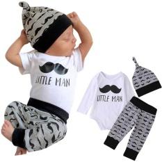 043bcd177cb Newborn Infant Baby Boys Girls Letter Romper+Beard Pants Hat 3pcs Clothes  Set - intlPHP585. PHP 587
