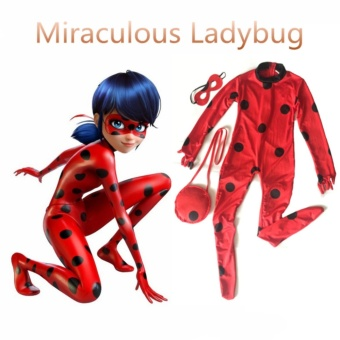 (3PCS/Set Romper +Mask+Bags Kids Size L 135-145CM)MiraculousLadybug Cosplay Halloween Costumes for Girls - intl