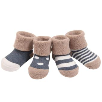 4 Pair Cute Thickened Cotton Baby Socks Kids Boys Girls for 1-2Years Old Set Thin Blue - intl