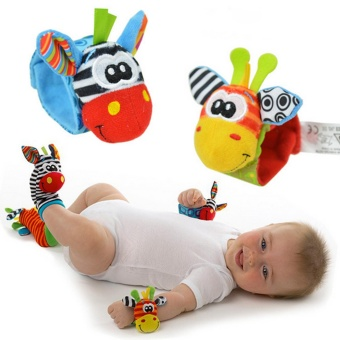 4 Pcs(1 SET) New Baby Infant Foot Socks Rattles Wrist RattlesMulticolor - intl