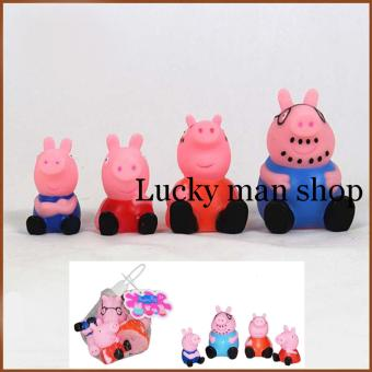 4 Pieces Pig Baby Bathing Developmental Toys Water Floating SqueakyRubber Small Animal (Multicolor)