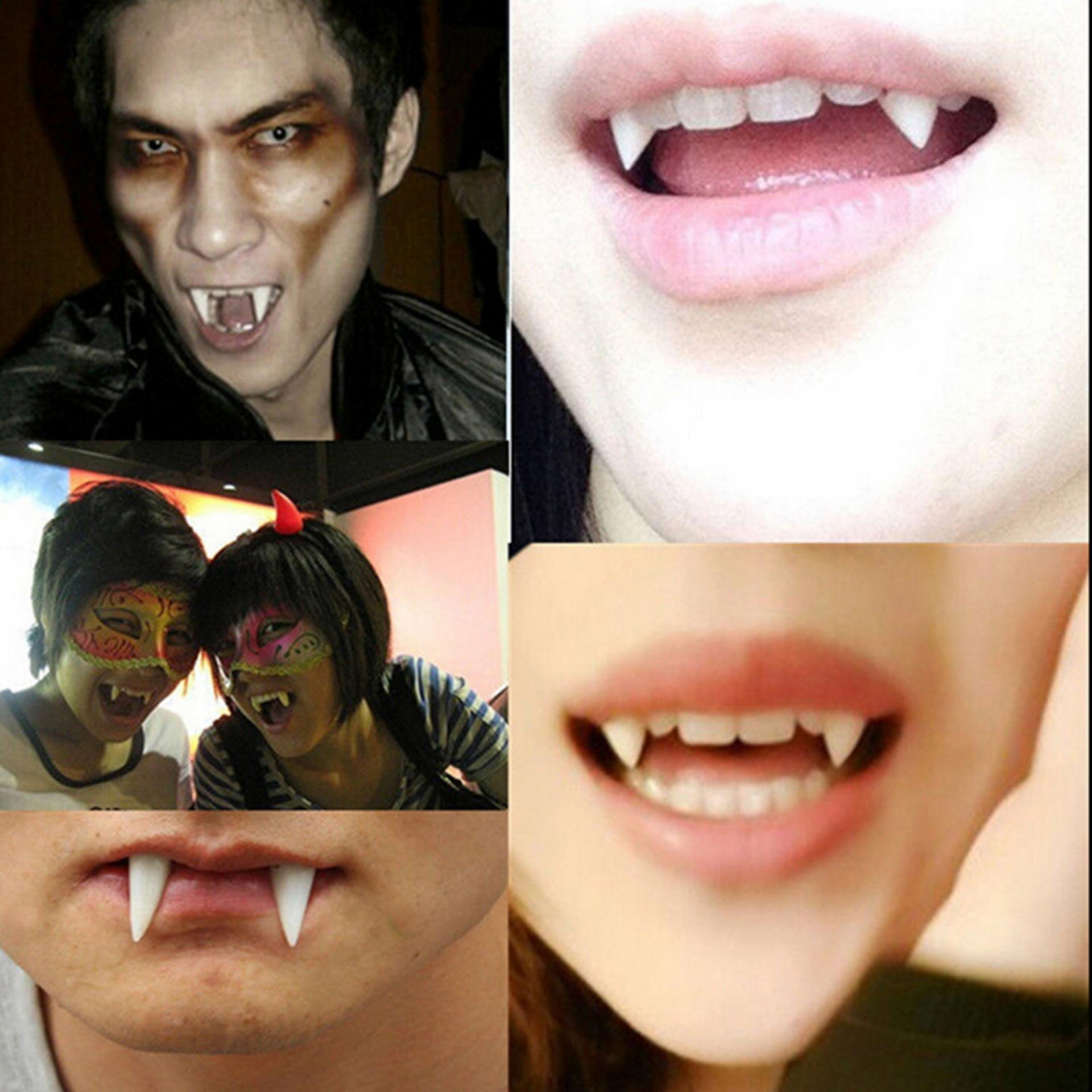 Novelty & Gag Toys 2pcs Halloween Horrific Cosplay Dentures Zombie Cosplay Teeth Ghost Devil Fangs Props Costume Party