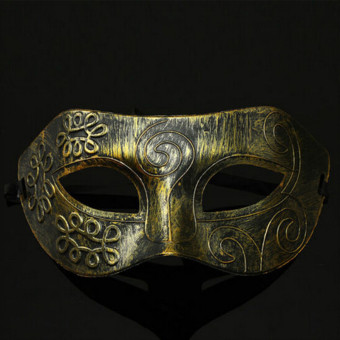 4ever Retro Halloween Men Burnished Ball PVC Mask Venetian MardiGras Masquerade Party (Gold) - Intl