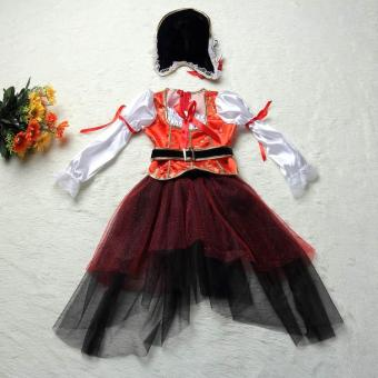 4PCS/Set Dress+Belt+Hat+Skirt Kids Party Cosplay Dress Up PirateHalloween Costumes for Girls (L Size Height 115-125CM) - intl - 3