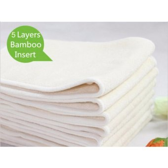 5 layers Bamboo White Terry Nappy Cloth Diaper insert (1pc)