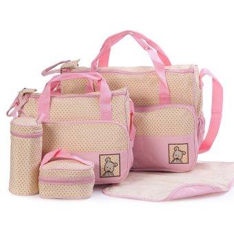 5-piece Baby Changing Diaper Nappy Bag Handbag Multifunctional Bags Set (Pink)