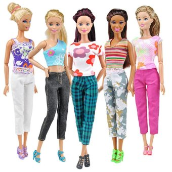 5 Sets of Printing T-shirt and Pants Daily Wear for Barbie Dolls -intl