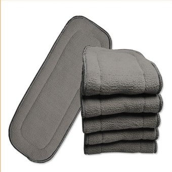 5Pcs 4 layers Bamboo Charcoal Inserts Cloth Diaper For Baby Diaper Washable Grey U08 - Intl