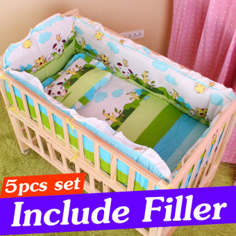 5PCS 90X50CM Island Animal Infant Baby Crib Bedding Set ForBoy Girl Baby Cot Sets Newborn Baby Crib Bumper Baby Bed BumperWith Filler CP01S