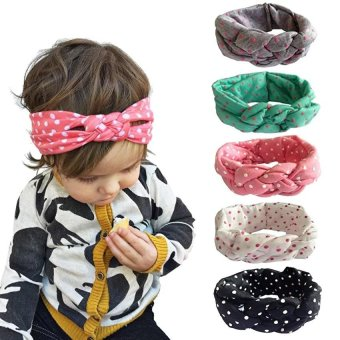 5PCS Baby Girl Newest Turban Headband Head Wrap Knotted Hair Band - intl