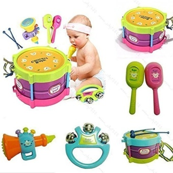 5pcs Novelty Kids Roll Drum Musical Instruments Band Kit Children Toy Baby Gift Set - intl