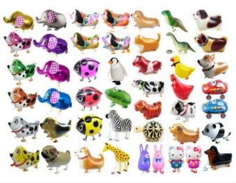 5pcs/lot Walking Pet Ballons Mix Animals Models Aluminum BalloonsInflatable Toys for Kids Birthday Gifts Party Decorations - intl