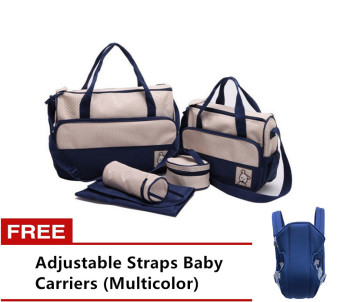5pcs/Set Baby Changing Diaper Nappy Mummy Mother multifunctional Bags (Blue) with Free Adjustable Straps Baby Carriers (Multicolor)