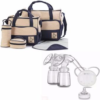 5pcs/Set Baby Changing Diaper Nappy Mummy Mother multifunctional Bags (Blue) WITH RH228 Mother Manual Double Electric Breast Pump (White)