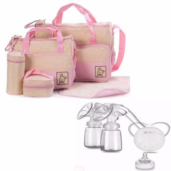 5pcs/Set Baby Changing Diaper Nappy Mummy Mother multifunctionalBags (Pink) WITH RH228 Mother Manual Double Electric Breast Pump(White) Price Philippines