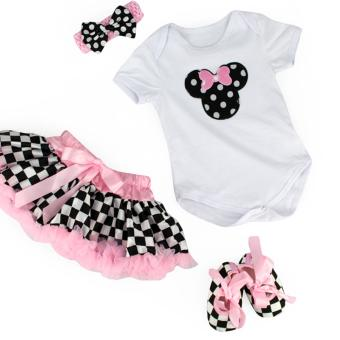 6 12M Baptismal Dress Checkered Minnie Baby Kids Girls Tutu Skirt Set With Shoes And