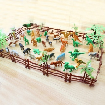 68 PCS Kids Miniature Plastic Simulation Artificial Zoo Fence Tree Animal Tiger Lion Dinosaur Collection Toy Animals Model Toys Set - intl